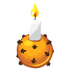 christmas candle with candle holder made of orange vector image