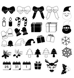 Christmas icons set on white background vector