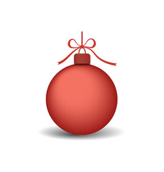 christmas tree ball with ribbon bow red bauble vector image