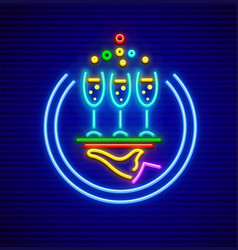 cocktail restaurant neon sign vector image