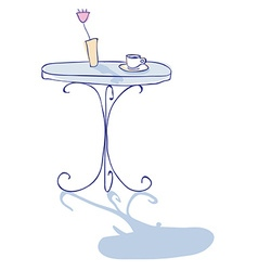 Coffee on forged or metal table in cafe with rose vector image