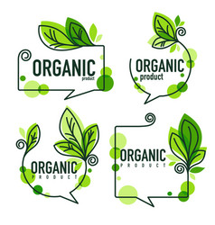 Collection of doodle organic leaves emblems vector