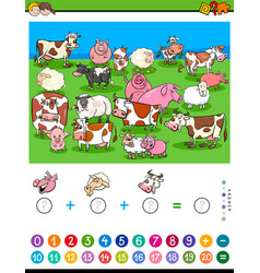 Counting and adding game with cartoon characters vector