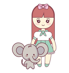 cute and little elephant with girl vector image