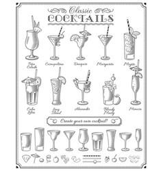 famous cocktails set vector image
