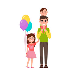 Father and children poster vector