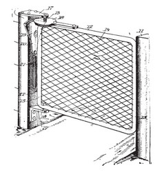 Fencing gate galvanized vintage engraving vector