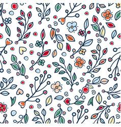 Flower and grass seamless pattern vector