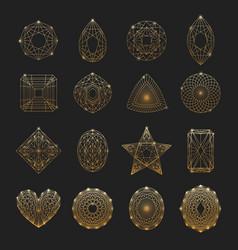 Gemstones linear icons set vector