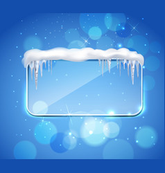 Glass panel with icicles realistic vector