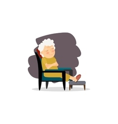 Grandmother sitting on the chair vector image