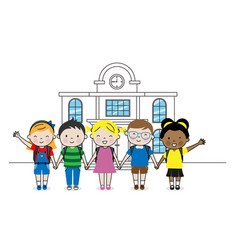 Group children going to school isolated vector