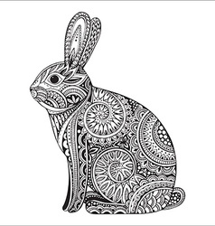 Hand drawn ornate rabbit with ethnic floral doodle vector image
