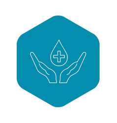 hands holding blood drop icon outline style vector image