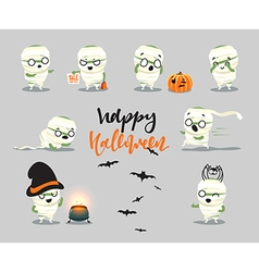 Happy halloween set cute cartoon character vector