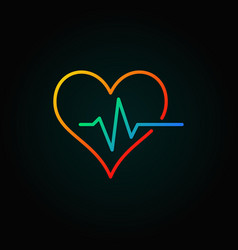 heart pulse colored icon or logo element vector image