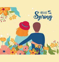 Hello spring couple character flowers nature vector