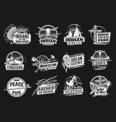 indian wild west icons or emblems set vector image