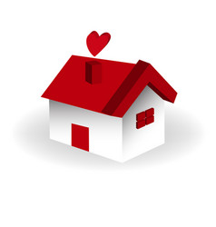 isolated 3d home with heart icon vector image