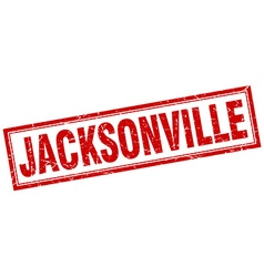 Jacksonville red square grunge stamp on white vector