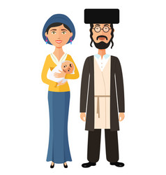 jewish parents with a newborn baby flat vector image