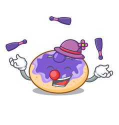 Juggling donut blueberry mascot cartoon vector
