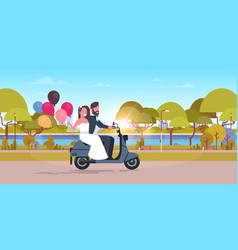 Just married couple riding motor scooter with vector
