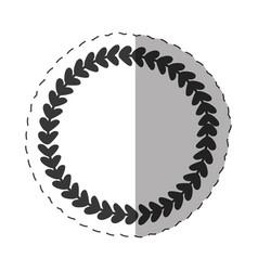 laurel round label decoration thin line vector image