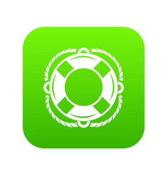 lifebuoy icon green vector image