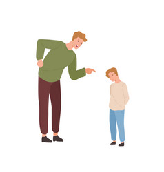 mad father scolding little son flat vector image