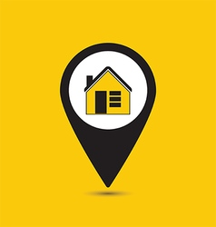 Map pointer house icon vector