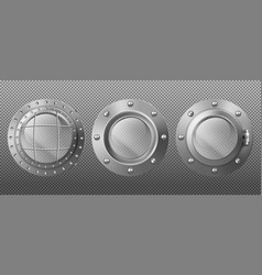 Metal portholes in ship submarine or spaceship vector