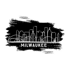 milwaukee wisconsin skyline silhouette hand drawn vector image