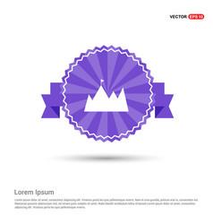 mountain icon - purple ribbon banner vector image