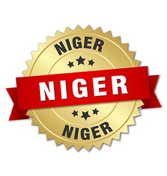 Niger round golden badge with red ribbon vector