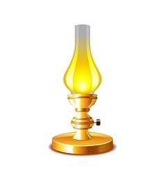 Old kerosene lamp isolated on white vector image