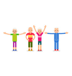 old people doing exercises group pensioners and vector image