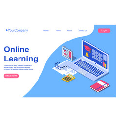 Online learning education concept laptop with vector