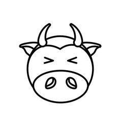 Outline cow head animal vector