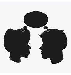 people bubble head silhouette design vector image