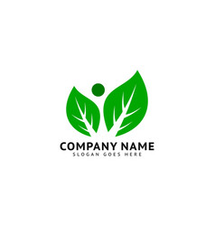 people leaf logo design template vector image