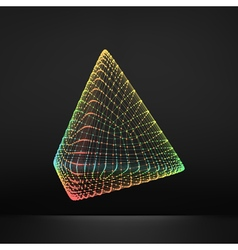 Pyramid Regular Tetrahedron Platonic Solid 3D Grid vector