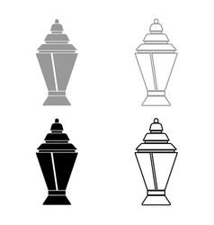 ramadan kareem lantern or fanous icon set grey vector image