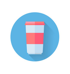 Red and white food container for yogurt vector