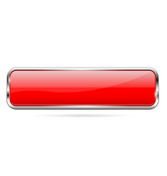 Red glass button 3d shiny rectangle icon vector