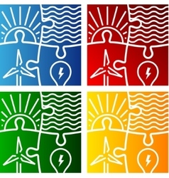 Renewable energy sign logo set vector
