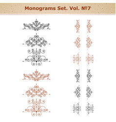 set of ornate patterns in retro style vector image