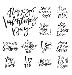 set of valentines day romantic handwritten quotes vector image