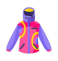 Skiing hiking winter sport down jacket flat vector
