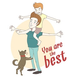 Son on his fathers shoulders with their dog Hand vector image